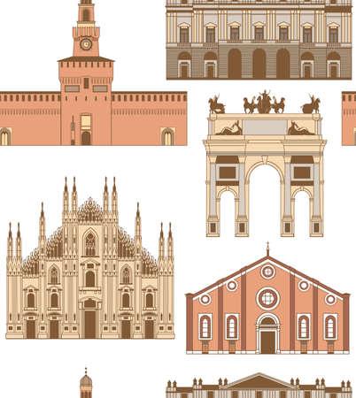 Vector gekleurde achtergrond met beroemde bezienswaardigheden Milan Stockfoto - 69256312