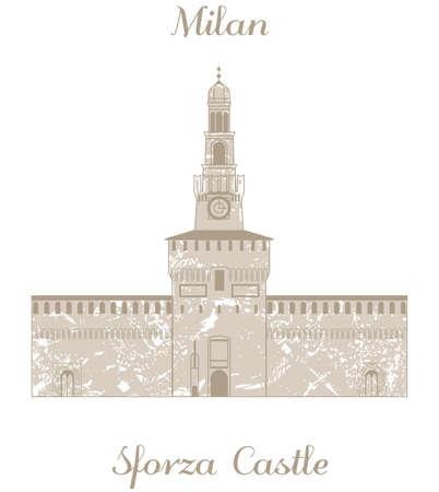 sforza: vector illustration of Sforza Castle Illustration