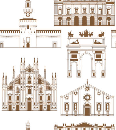 vector background with famous Milan landmarks