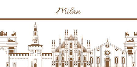 vector hand-drawn template with composition of famous landmarks of Milan
