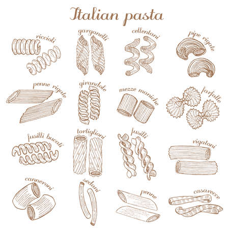 vector set of different pasta shapes Çizim