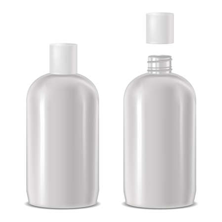 vector realistic open and closed cosmetic bottle
