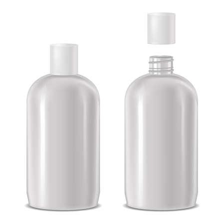 Vektor realistische offene und geschlossene kosmetische Flasche Standard-Bild - 77476037