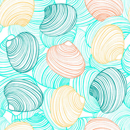 Vector hand drawn colorful seamless shell background.