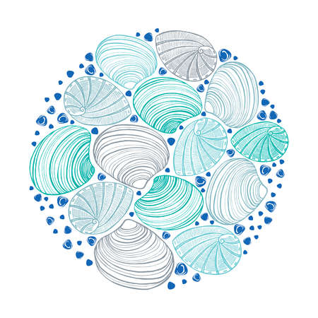 vector round hand drawn isolated colored shell composition