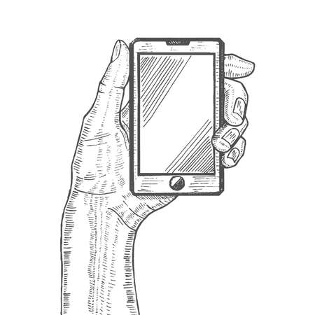 smartphone apps: vector illustration with hand holding cellphone Illustration