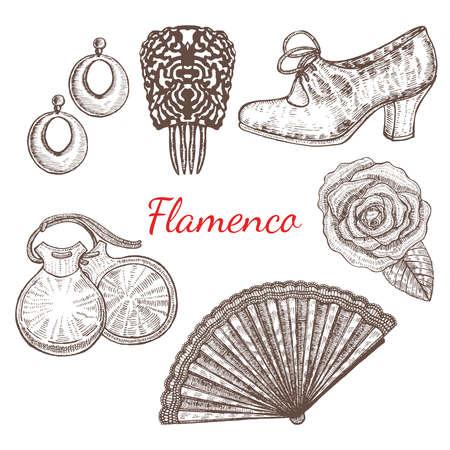 earrings: vector set of flamenco accessories