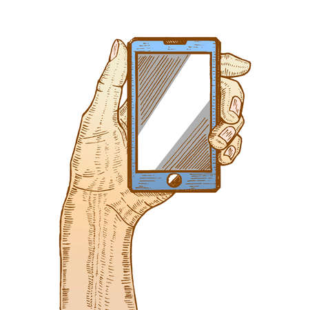 using smartphone: vector colored illustration with hand holding cellphone