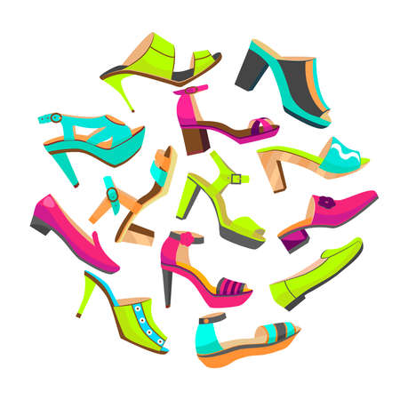 vector round shoes composition with high heels mule shoes and flat shoes