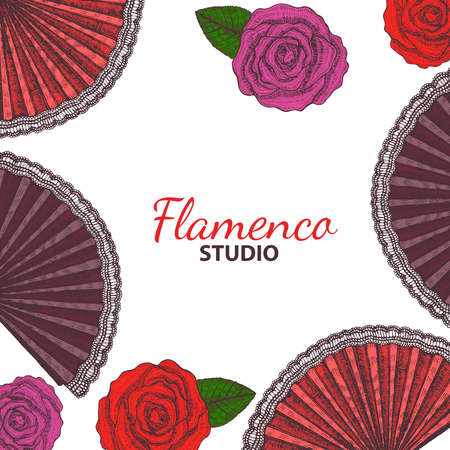 latina: vector hand drawn flamenco template with roses and fans Illustration