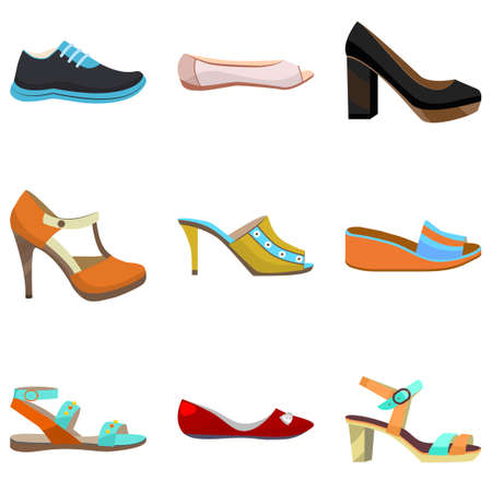 Woman Shoes Set. Colorful Shoes in Cartoon Style for Banners and Fliers. Vector Illustration of Diffrent Types of Shoes