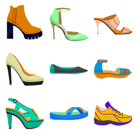 Vector Woman Colorful Shoes in Cartoon Style