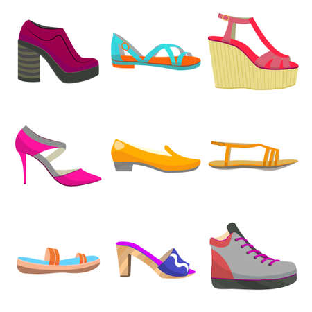 Woman Shoes Set. Colorful Shoes in Cartoon Style for Banners and Fliers of Shops. Vector Illustration of Sneakers Sandals High Heels Slippers Flat Boots and Mules