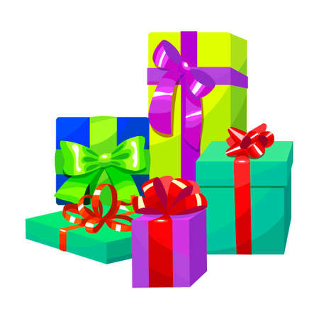celebrate: Colorful Gift Composition. Different Gift Boxes in Cartoon Style. Vector Illustration of Gifts with Bows and Ribbons
