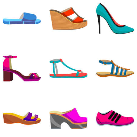 accessory: Woman Shoes Set. Colorful Shoes in Cartoon Style for Banners and Fliers of Shops. Vector Illustration of Sneakers Sandals High Heels Slippers Flat and Mules
