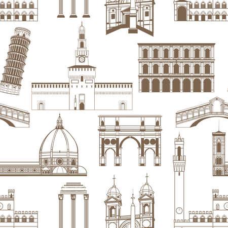 Famous Italian landmarks pattern.