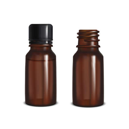 Dark Glass Bottles. Blank Mock Up for Presentation of Cosmetic Skin Care Medical Product Essential Oil Design. Vector Isolated Illustration