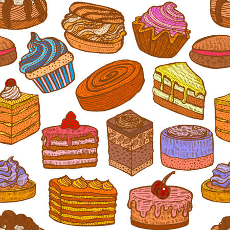 Colored Seamless Pattern with Cupcakes Cakes and Pastries.