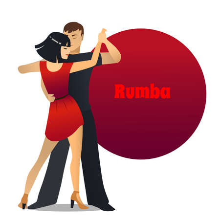 Rumba Dancing Couple in Cartoon Style