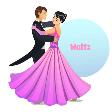 Waltz Dancing Couple in Cartoon Style Illustration