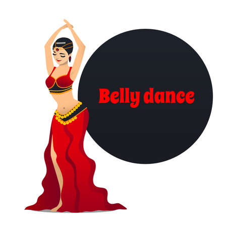 Belly dancer, dancing girl in cartoon style for fliers posters banners prints of dance school and studio vector illustration. Standard-Bild - 96085397
