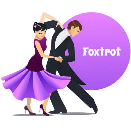 Foxtrot dancers, dancing couple in cartoon style for fliers posters banners prints of dance school and studio vector illustration.