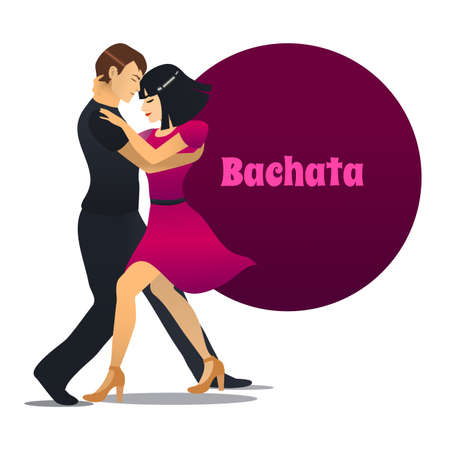 Bachata Dancers. Dancing Couple in Cartoon Style for Fliers Posters Banners Prints of Dance School and Studio. Vector Illustration Vettoriali