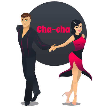 Cha Cha Dancers. Dancing Couple in Cartoon Style for Fliers Posters Banners Prints of Dance School and Studio. Vector Illustration