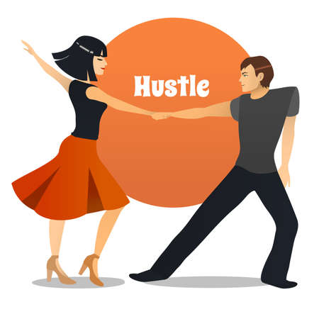 Hustle Dancers. Dancing Couple in Cartoon Style for Fliers Posters Banners Prints of Dance School and Studio. Vector Illustration