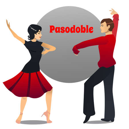 Pasodoble Dancers. Dancing Couple in Cartoon Style for Fliers Posters Banners Prints of Dance School and Studio. Vector Illustration