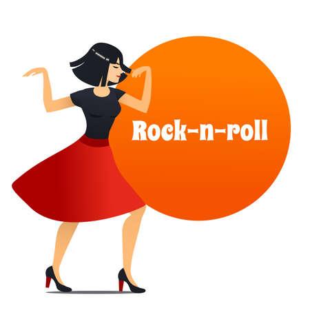 Rock-n-Roll Dancer. Dancing Girl in Cartoon Style for Fliers Posters Banners Prints of Dance School and Studio. Vector Illustration