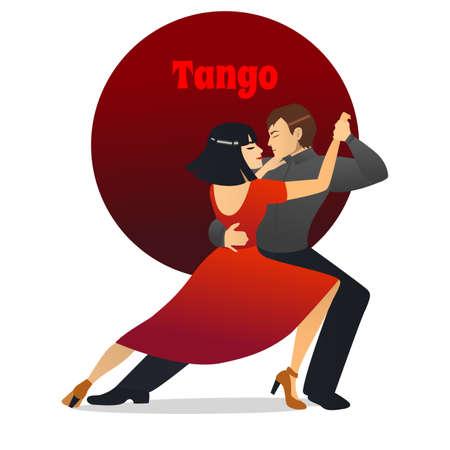Tango Dancers. Dancing Couple in Cartoon Style for Fliers Posters Banners Prints of Dance School and Studio. Vector Illustration