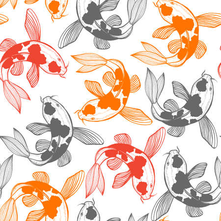 Seamless Pattern with Karp Koi. Fish Background in Hand Drawn Style for Surface Design Fliers Prints Cards. Vector Illustration