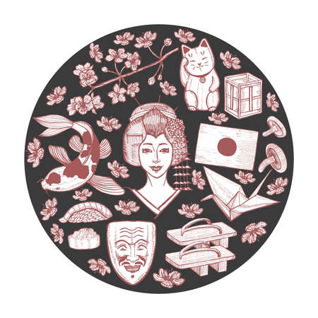 Dark Round Composition With Japanese Symbols Collection In Hand