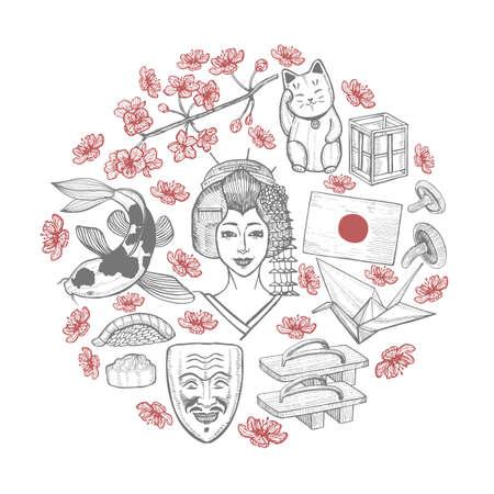Round Composition with Japanese symbols.  イラスト・ベクター素材