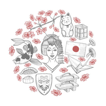 Round Composition with Japanese symbols. Illustration