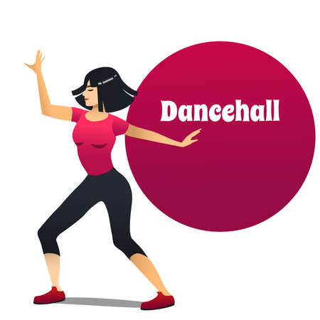 Dancehall Dancer. Dancing Girl in Cartoon Style for Fliers Posters Banners Prints of Dance School and Studio. Vector Illustration Illustration