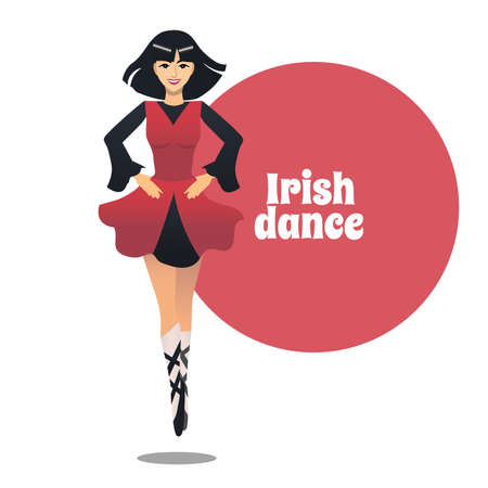 Irish Dance. Dancing Girl in Cartoon Style for Fliers Posters Banners Prints of Dance School and Studio. Vector Illustration