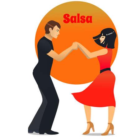 Salsa Dancers. Dancing Couple in Cartoon Style for Fliers Posters Banners Prints of Dance School and Studio. Vector Illustration Vectores