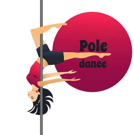 Pole Dancer. Dancing Girl in Cartoon Style for Fliers Posters Banners Prints of Dance School and Studio. Vector Illustration Vettoriali