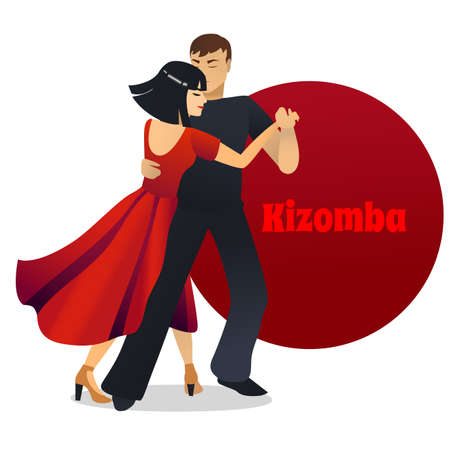 Kizomba Dancing Couple in Cartoon Style