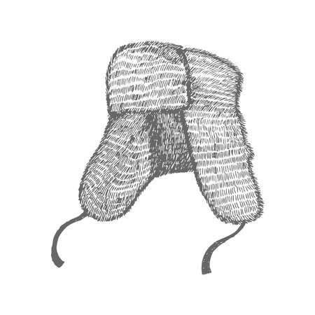 Ushanka. Russian Symbol in Hand Drawn Style for Surface Design Fliers Prints Cards Banners. Vecto