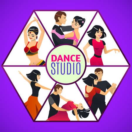 Dance Studio Template in Cartoon Style Иллюстрация
