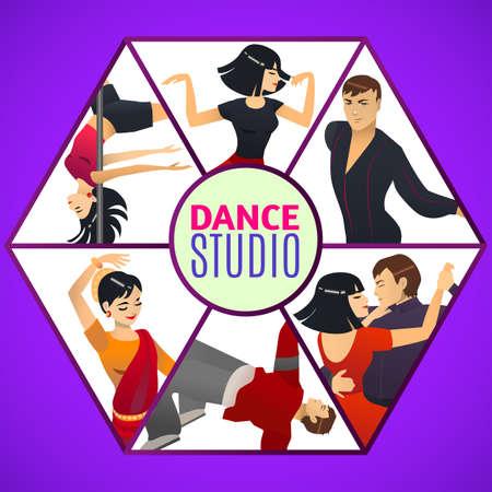 Dance Studio Template in Cartoon Style Illustration