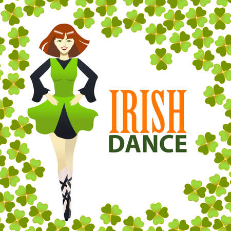 Light Irish Dance Studio Template. Composition with Irish Dancer and Clover in Cartoon Style. Standard-Bild - 97469811