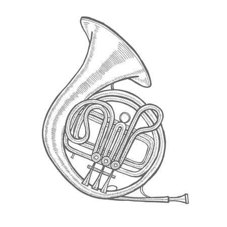Corno francese. Strumento musicale in stile disegnato a mano per la progettazione di superfici Volantini Stampe Carte Striscioni. Illustrazione vettoriale Archivio Fotografico - 97473675