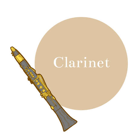 Colored Clarinet. Musical Instrument in Hand Drawn Style for Surface Design Fliers Prints Cards Banners. Vector Illustration Illustration