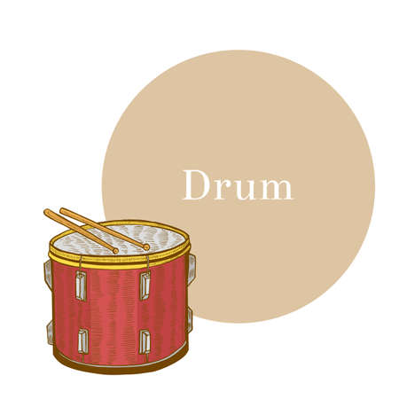 Colored Drum. Musical Instrument in Hand Drawn Style for Surface Design Fliers Prints Cards Banners. Vector Illustration