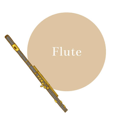 Colored Flute. Musical Instrument in Hand Drawn Style for Surface Design Fliers Prints Cards Banners. Vector Illustration Illustration