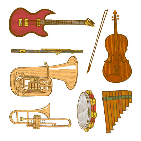 Set of musical instruments in hand-drawn style. Çizim